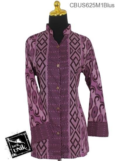 Baju Batik Terbaru  Sarimbit Blus Katun Motif Baris Gelombang