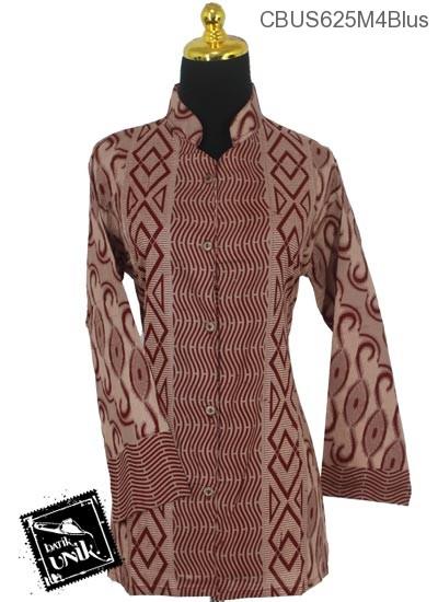 Baju Batik Sarimbit Blus Katun Motif Baris Gelombang