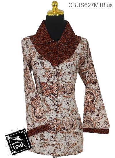 Baju Batik Terbaru  Sarimbit Blus Katun Motif Dedaunan Tumpal Polka