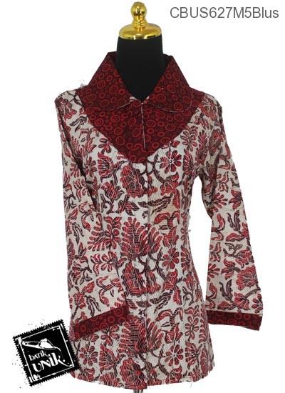 Baju Batik Sarimbit Blus Katun Motif Dedaunan Tumpal Polka