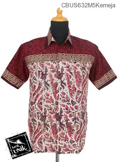 Baju Batik Sarimbit Kemeja Katun Motif Dedaunan Tumpal Polka Dua