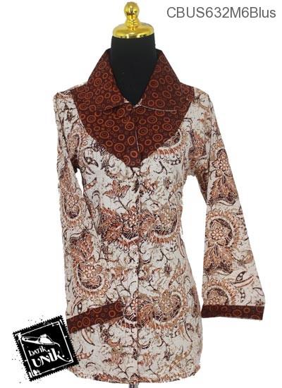 Baju Batik Sarimbit Blus Katun Motif Dedaunan Tumpal Polka Dua