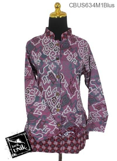 Baju Batik Terbaru  Sarimbit Blus Pekalongan Motif Mega Mendung Abstrak Tumpal