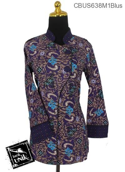 Baju Batik Sarimbit Blus Katun Motif Ombak Mega Mendung