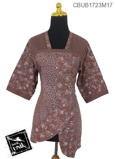 Blus Batik Tanggung Katun Motif Kotemporer Abstrak