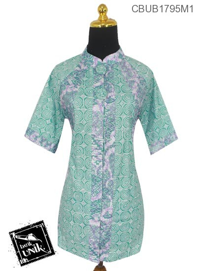 Blus Batik Terbaru  Tanggung Katun Motif Kembang Ulir Warna Soft