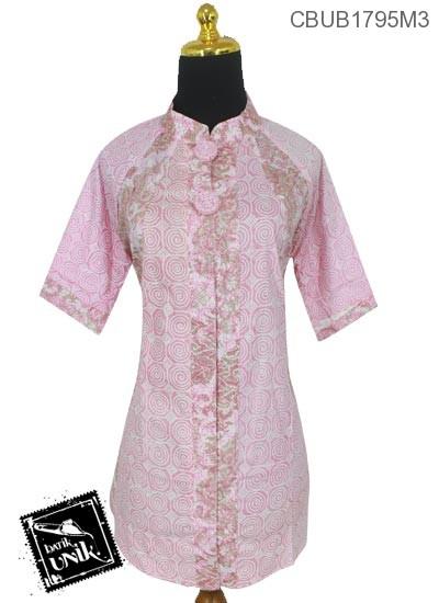 Blus Batik Tanggung Katun Motif Kembang Ulir Warna Soft