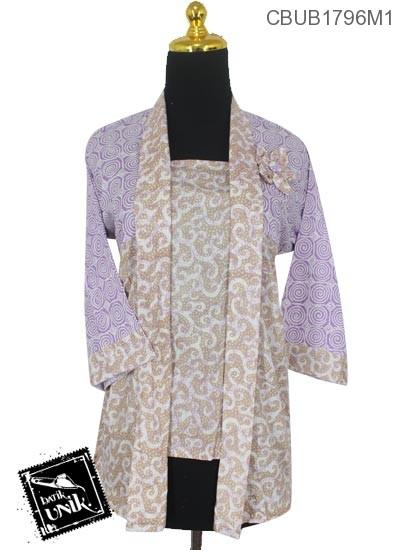 Baju Batik Blus Kutu Baru Motif Godhong Ulir Warna Soft