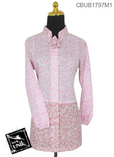 Baju Batik Terbaru  Blus Panjang Motif Rumput Laut Warna Soft