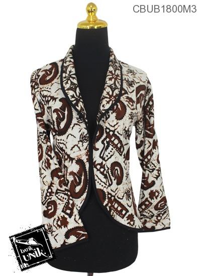 Baju Batik Bolero Bolak-Balik Motif Kawung Sogan