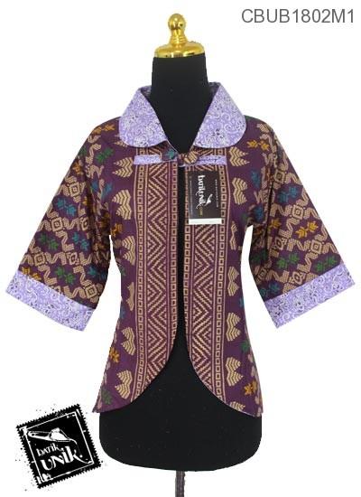 Baju Batik Terbaru  Bolero Bolak-Balik Motif Songket Kombinasi Bunga