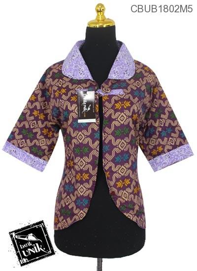 Baju Batik Bolero Bolak-Balik Motif Songket Kombinasi Bunga