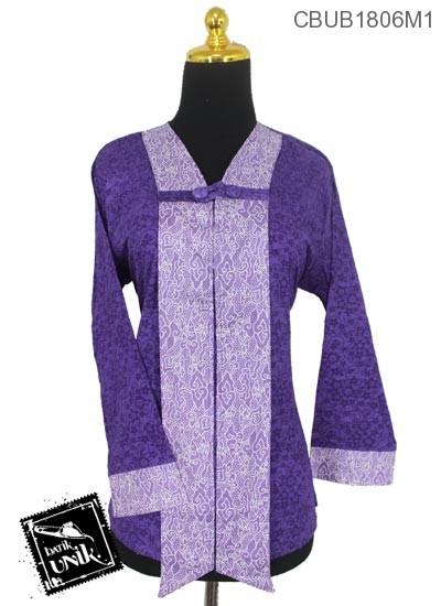 Blus Batik Terbaru  Panjang Motif Bunga Kombinasi Mega Mendung