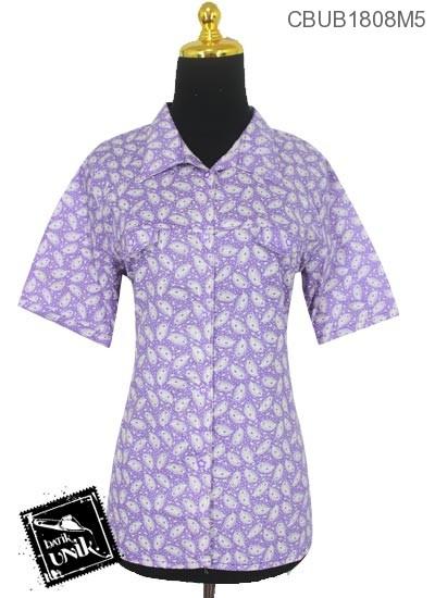 Blus Batik ABG Pendek Motif Bulu Burung Merak