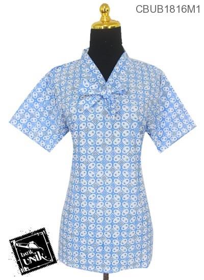 Blus Batik Terbaru  ABG Pendek Motif Kawung Warna Cerah