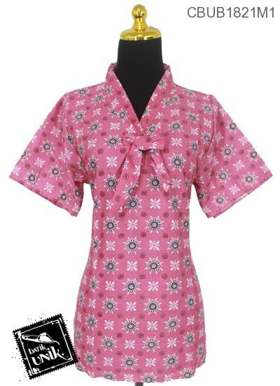 Blus Batik Terbaru  ABG Pendek Katun Motif Bunga Kembar Warna