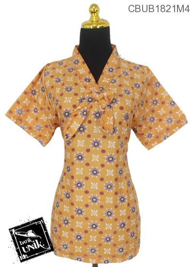 Blus Batik ABG Pendek Katun Motif Bunga Kembar Warna
