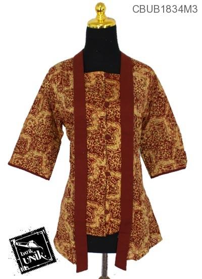 Blus Batik Kutu Baru Tanggung Katun Motif Kembang Ulir