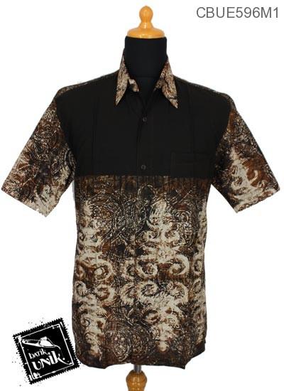 Baju Batik Terbaru  Kemeja Ekslusive Motif Abstrak Warna Cokelat