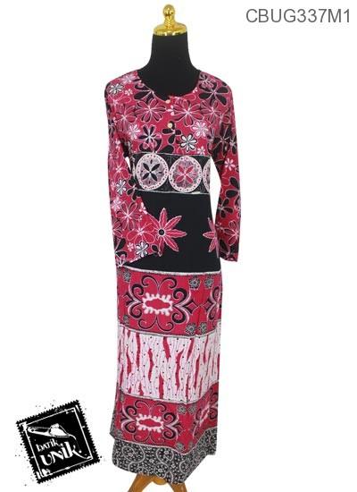 Baju Batik Longdress Santhung Motif Bunga Lili Kembar