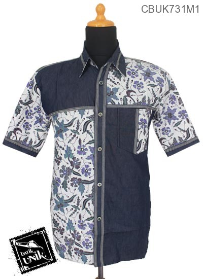 Baju Batik Kemeja Motif Kombinasi Soft Jeans Motif Bunga Apple Blossom
