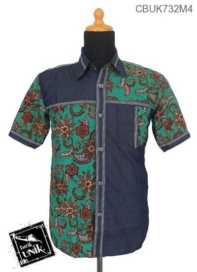 Baju Batik Kemeja Pendek Motif Nusantara Kombinasi Jeans