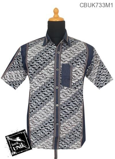 Kemeja Batik Motif Parang Kontemporer Kombinasi Jeans