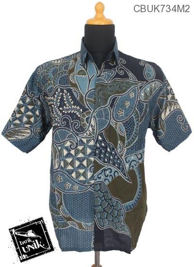 Kemeja Batik Terbaru  Pendek Motif Segitiga Daun Rambat