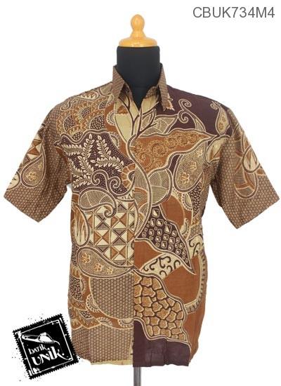 Kemeja Batik Pendek Motif Segitiga Daun Rambat