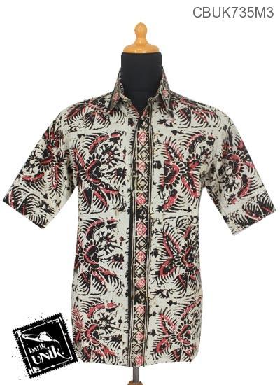 Baju Batik Kemeja Pendek Motif Daun Batangan