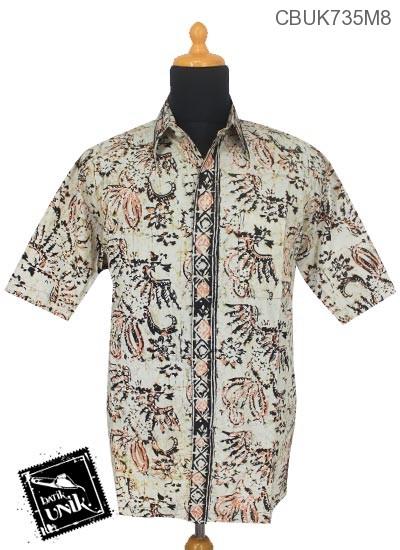 Baju Batik Terbaru  Kemeja Pendek Motif Daun Batangan