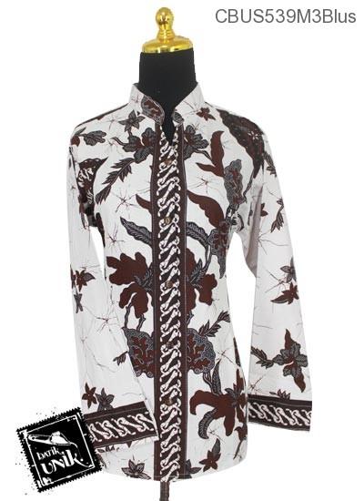 Baju Batik Sarimbit Blus Katun Motif Salur Kipas Tumpal