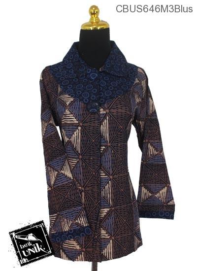 Baju Batik Sarimbit Blus Motif Variasi Polka Tumpal