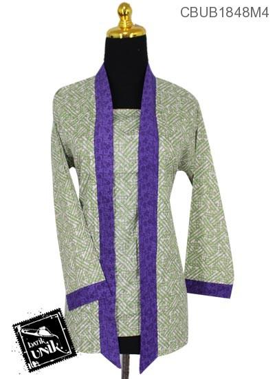 Blus Batik Kutu Baru Panjang Motif Bunga Anyam Warna