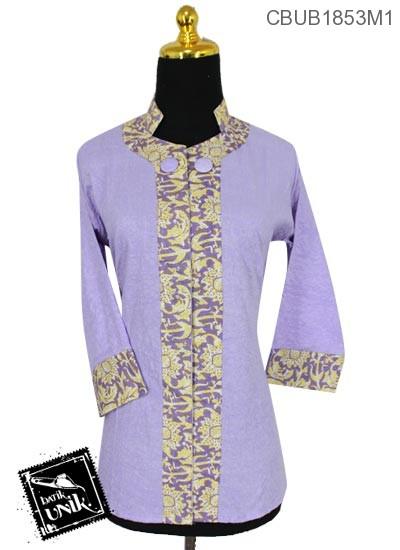Baju Batik Terbaru  Blus Tanggung 7/8 Motif Bunga Kupu-Kupu Warna