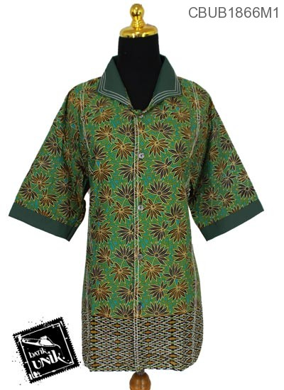 Baju Batik Terbaru  Blus Jumbo Tanggung Motif Daun Bintang