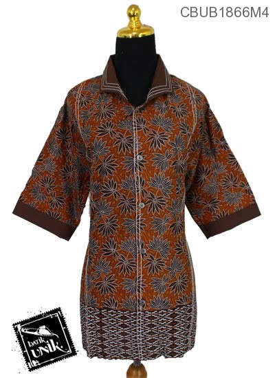 Baju Batik Blus Jumbo Tanggung Motif Daun Bintang