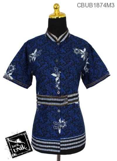 Blus Batik Pendek Katun Motif Abstrak Daun Asem