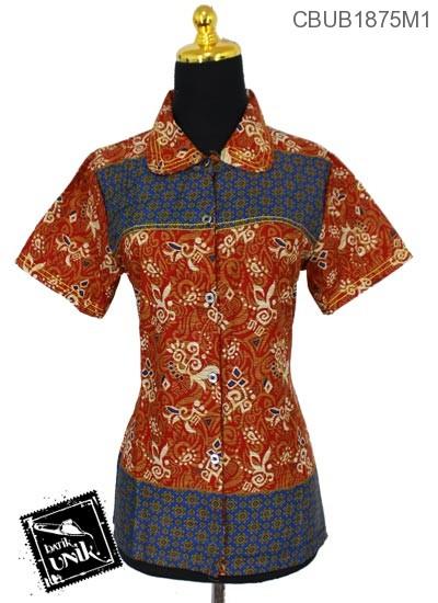 Blus Batik Terbaru  Pendek Katun Motif Abstrak Kembang Etnik