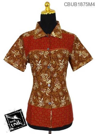 Blus Batik Pendek Katun Motif Abstrak Kembang Etnik