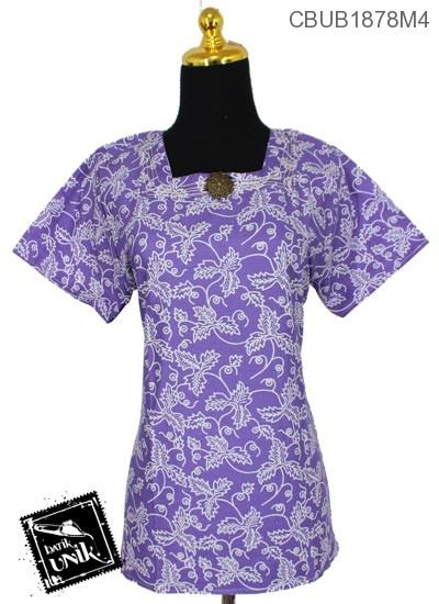 Baju Batik Blus Pendek Motif Godhong Songgo Langit
