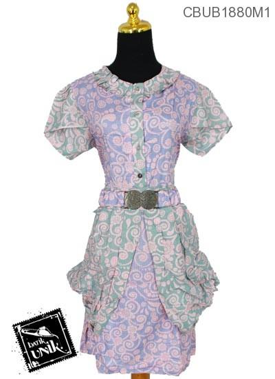 Dress Gotik Sol Katun Motif Ukir Gajah
