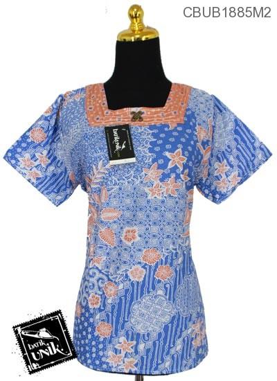 Baju Batik Blus Pendek Motif Kawung Ceplok