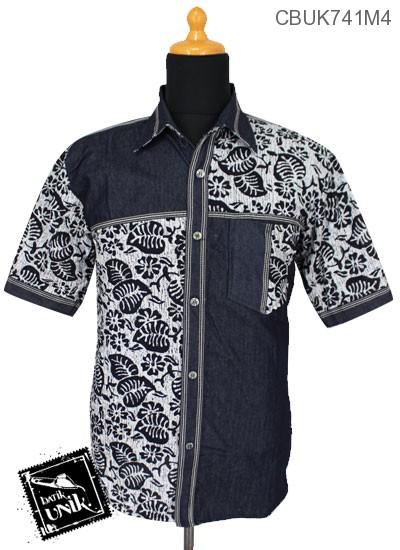 Baju Batik Kemeja Pekalongan Motif Parang Kontemporer Kombinasi Jeans