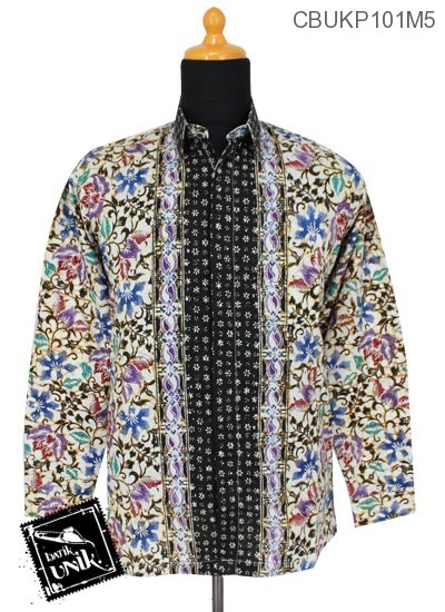Baju Batik Kemeja Panjang Katun Motif Taman Kupu Tumpal