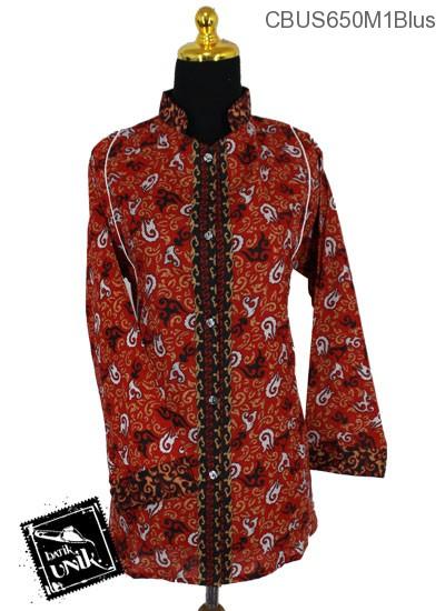Baju Batik Sarimbit Blus Motif Abstrak Daun Api