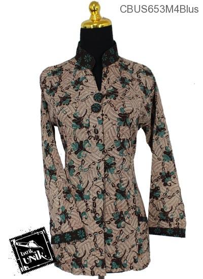 Baju Batik Sarimbit Blus Pekalongan Motif Ceplok Godhong Wulu