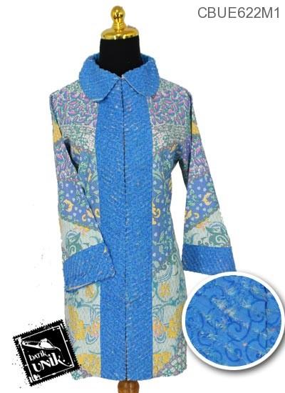 Blus Trikot Batik Terbaru  Kombinasi Sobek Bulu Motif Wadas Kawung