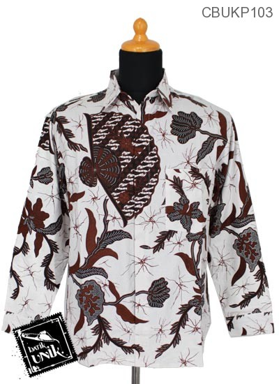 Baju Batik Kemeja Panjang Katun Motif Salur Kipas