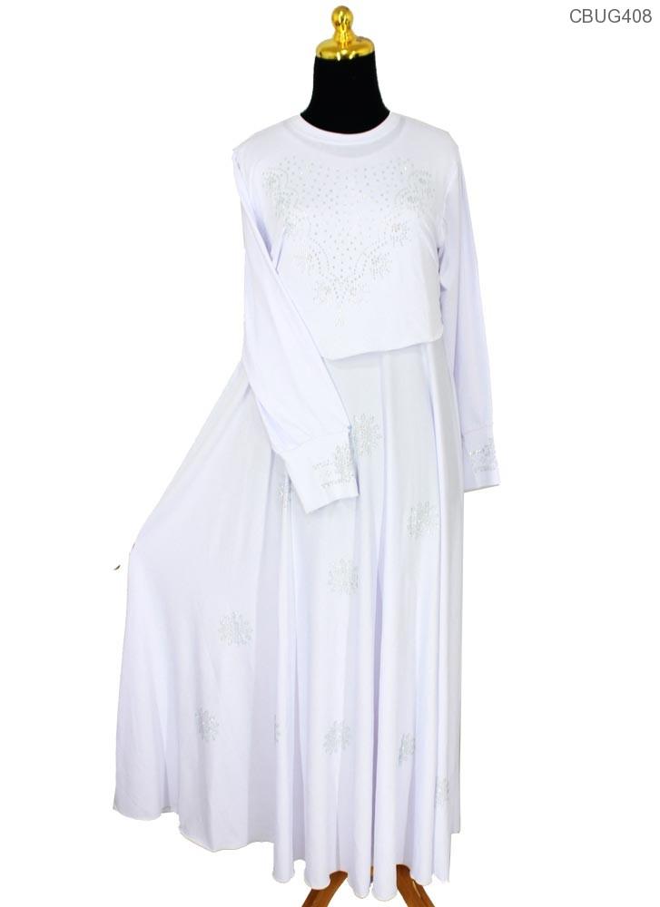 Gamis putih cristal cempaka gamis muslim murah Baju gamis putih murah